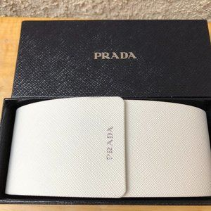 PRADA White Hard Shell Sunglasses Case, Cloth,Box